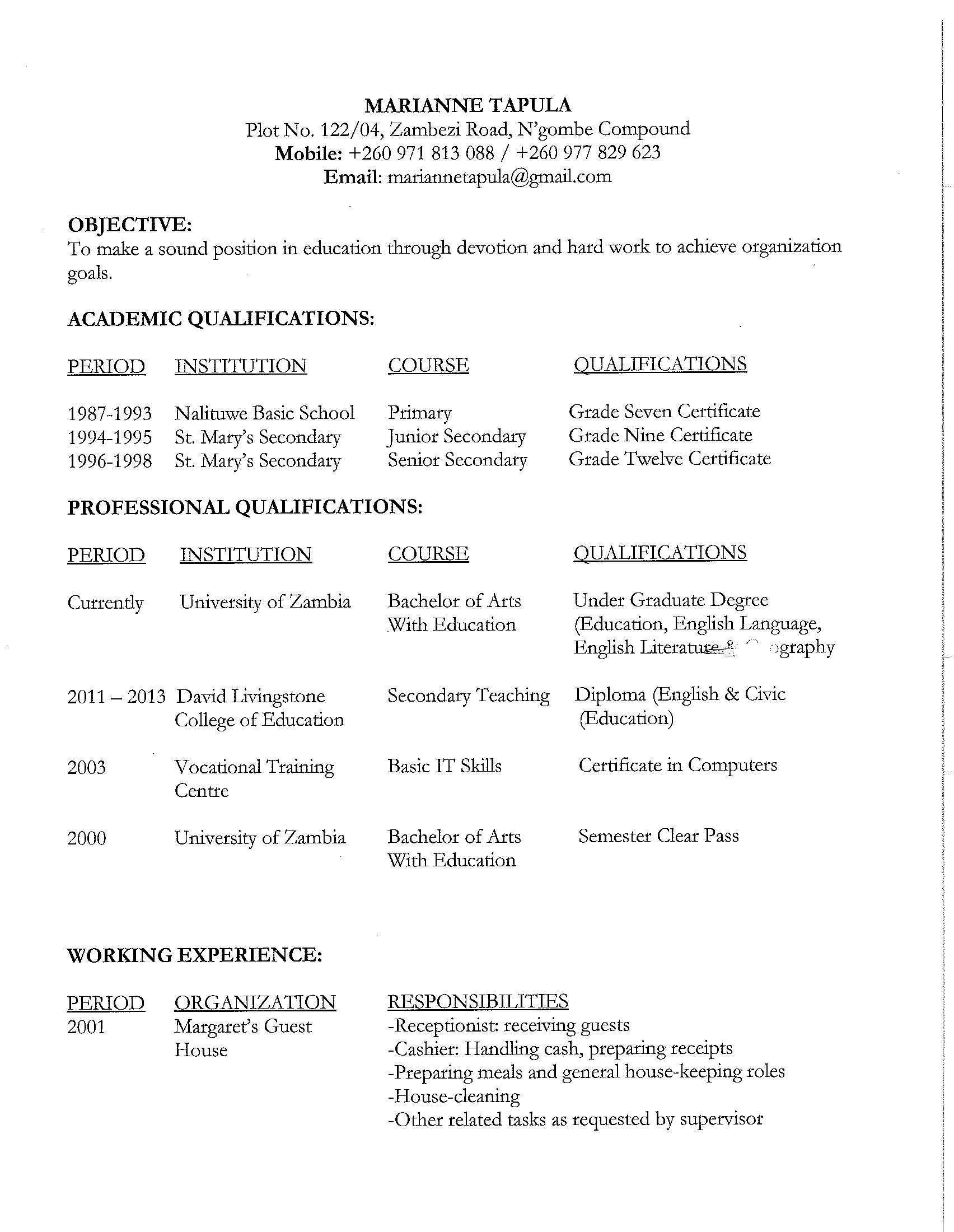 Secondary School Teaching (English & Civic Education)